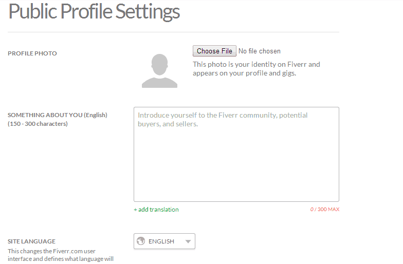 Profile settings on Fiverr