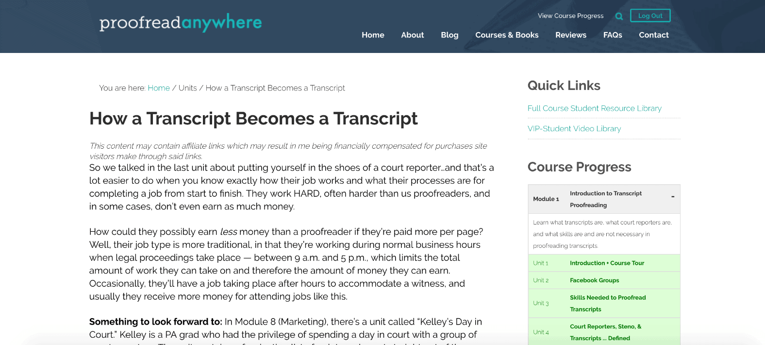 Proofread Anywhere Transcript Proofreading Screenshot