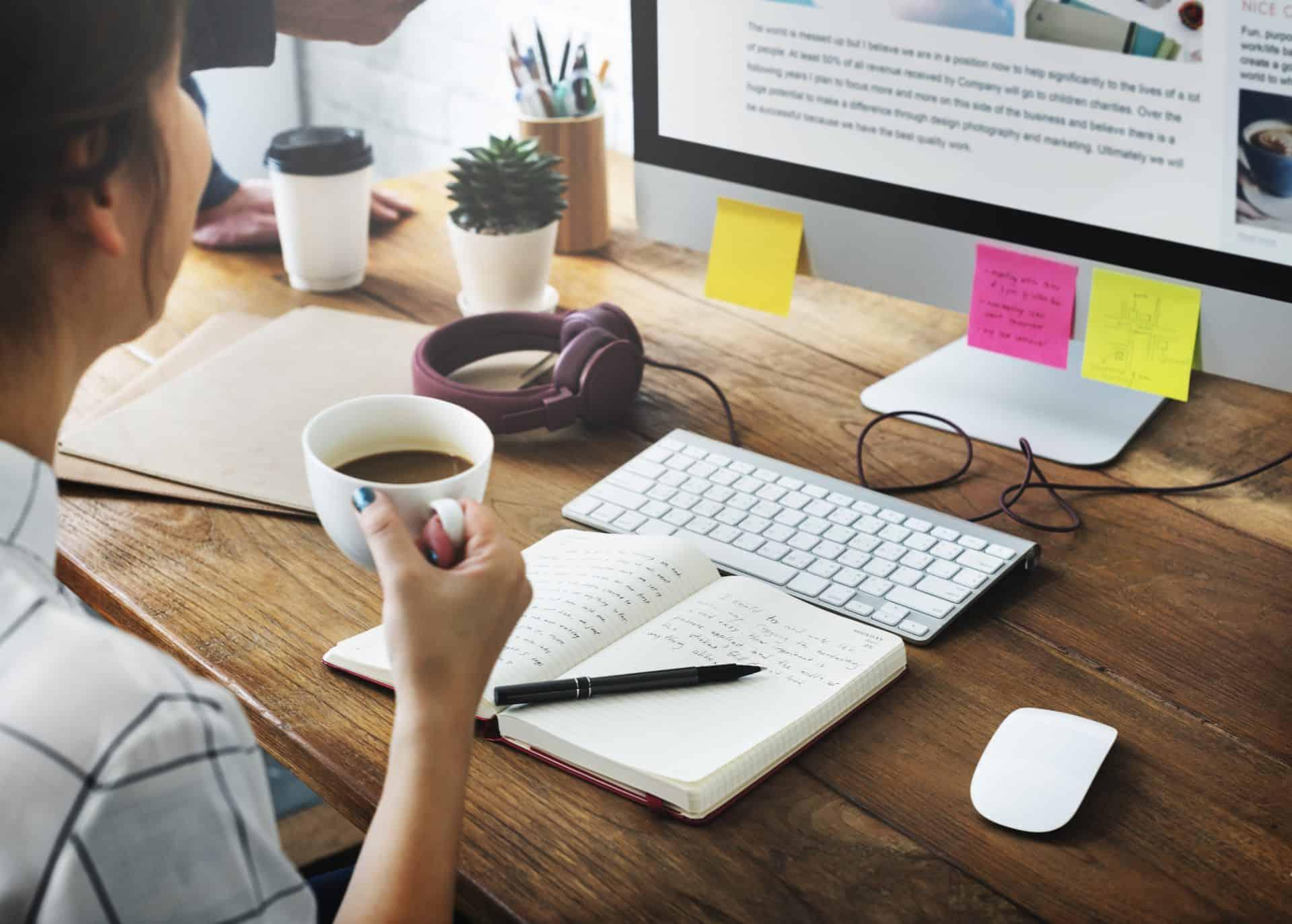 Woman editing online