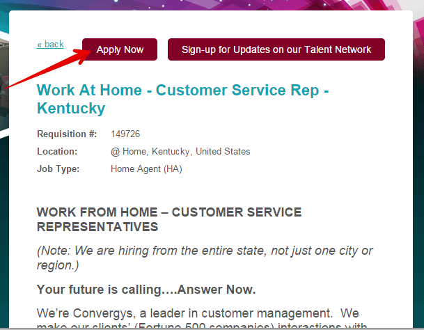 apply for at home position from Convergys