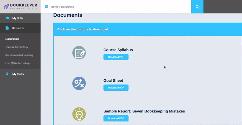 Resources with course syllabus, goals sheet, and sample report: seven bookkeeping mistakes.