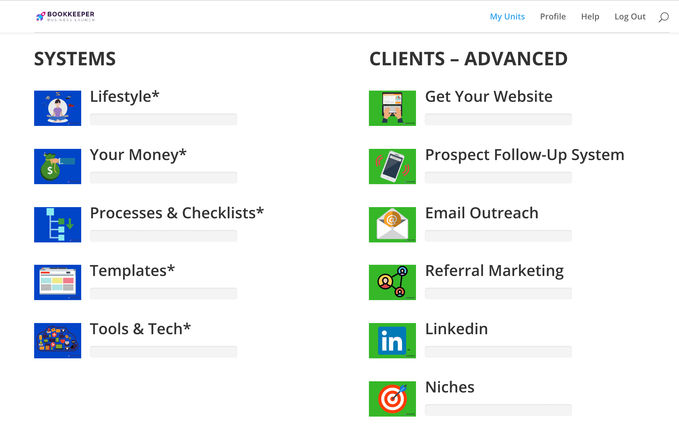 Screenshot of Bookkeeper Business Launch Systems and Clients-Advanced