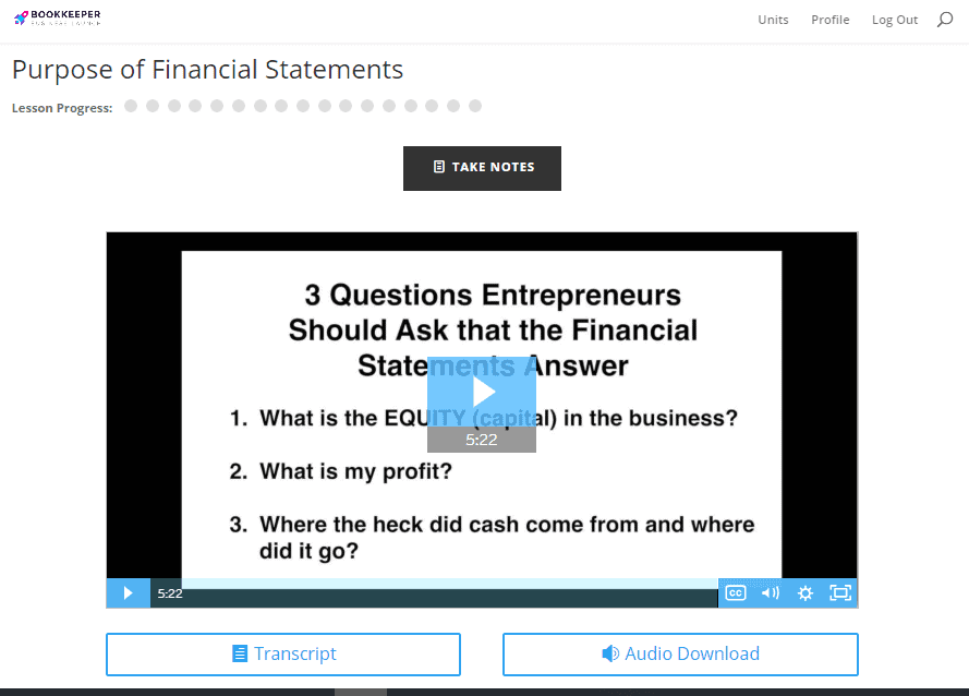 The Purpose of Financial Statements lesson.