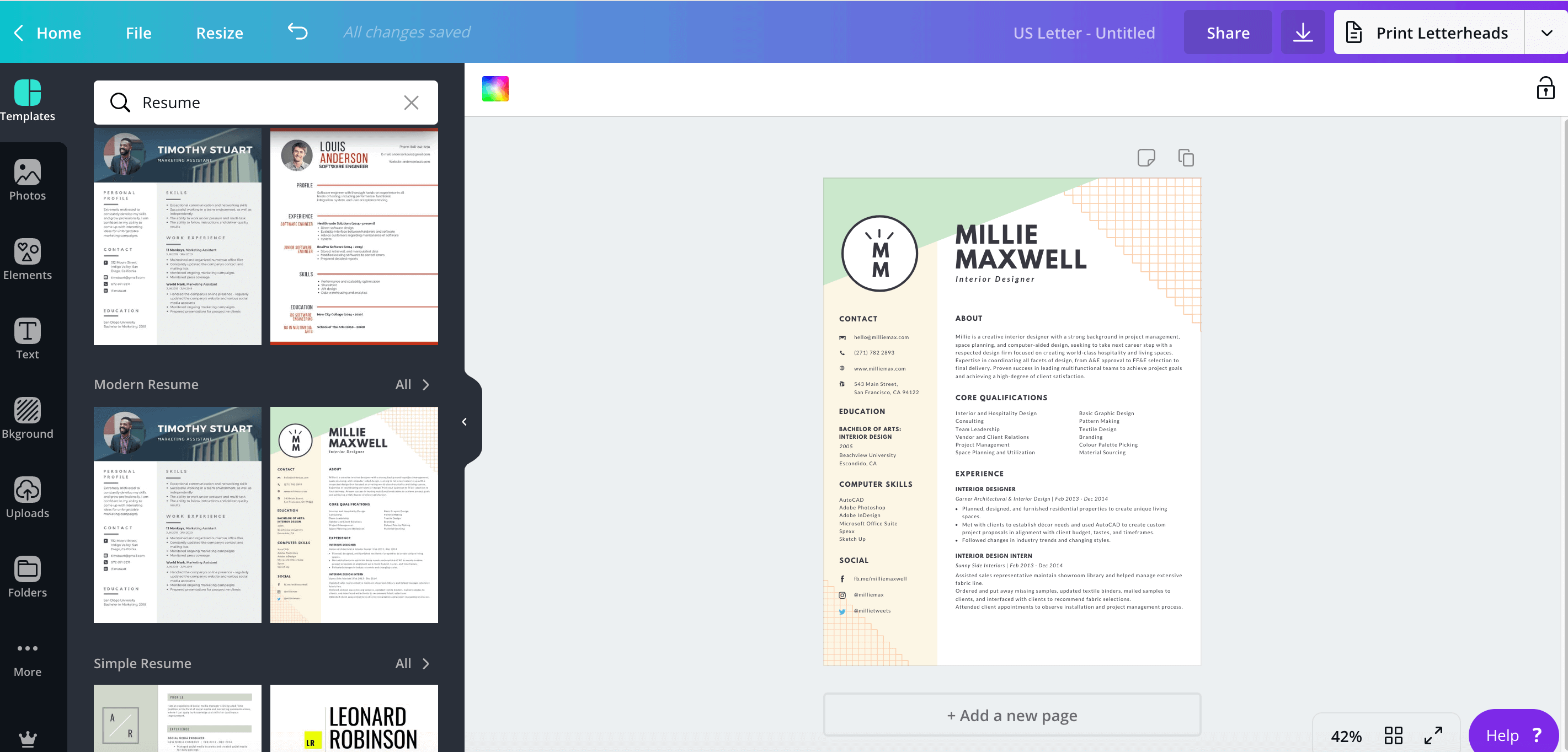 Resume templates found on Canva