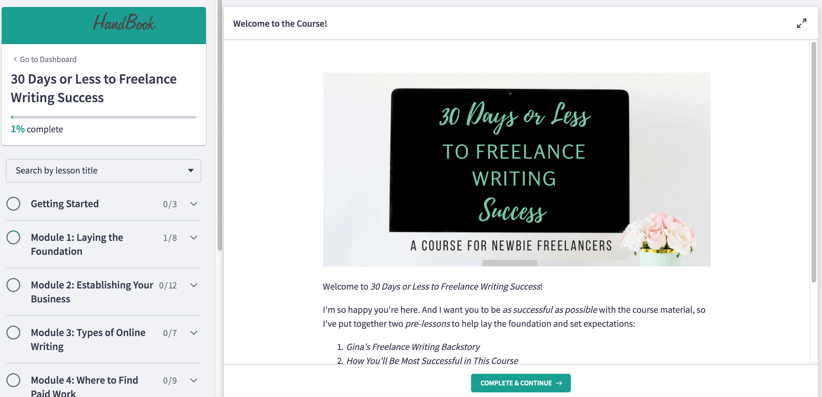 Welcome screen for 30 Days or Less to Freelance Writing Success