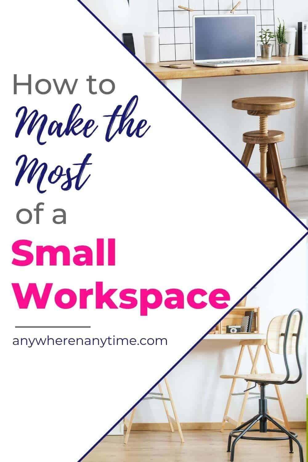 Do you need a few tips for making a home office work within your home? These organization and space-saving hacks will have you crushing your business from home in no time! #homeofficeideas #organizationtips