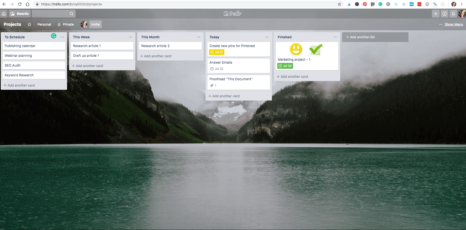 Example of how Trello can be used to manage projects with clients