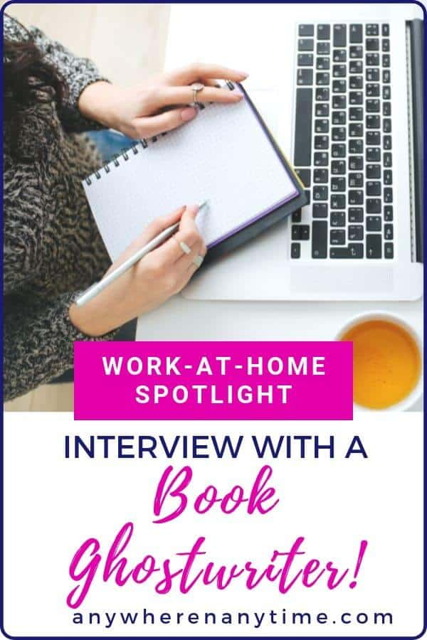 Ghostwriting jobs can be quite lucrative! Just ask this stay-at-home mom turned freelance writer of books! In this interview she dishes out the deets on how she got started in freelancing, what servifces she offered, and what it's like to run a home-based business. #freelancing #workathome