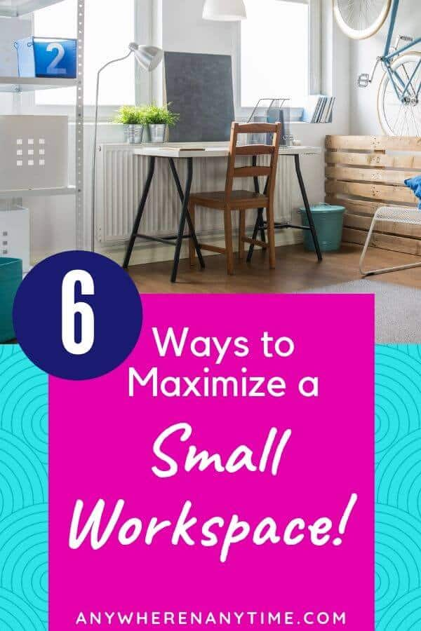 If you're struggling with making a home office work due a lack of space, these 6 office organization hacks could be a game-changer! (Hint, use your vertical space!)