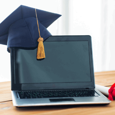 Bookkeeper launch vs college - computer with graduates cap on it