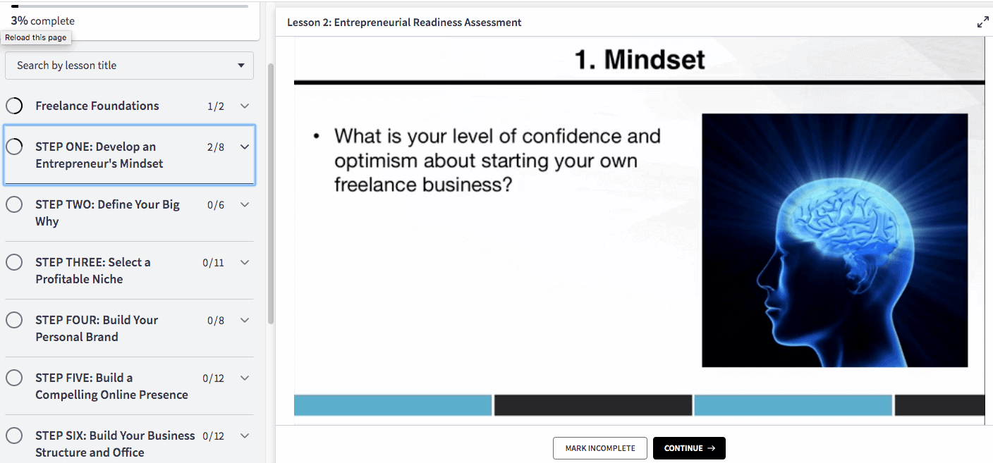 Lesson slide addressing mindset.