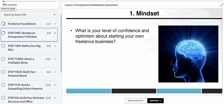 Lesson slide addressing mindset.