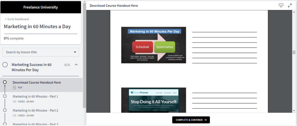 One of the downloadable PDF handouts.