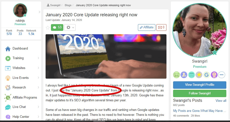 Example of Google updates