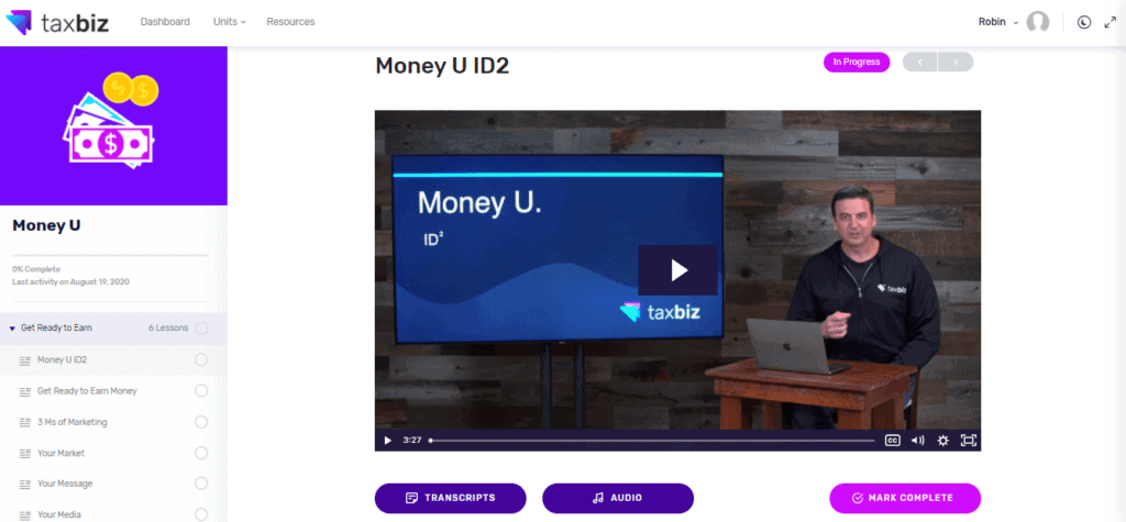 The introductory video screen for the Money U section of the Marketing section of the TaxBiz course, which will help you become a tax preparer online.
