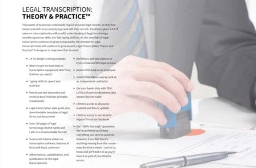 legal transcription course