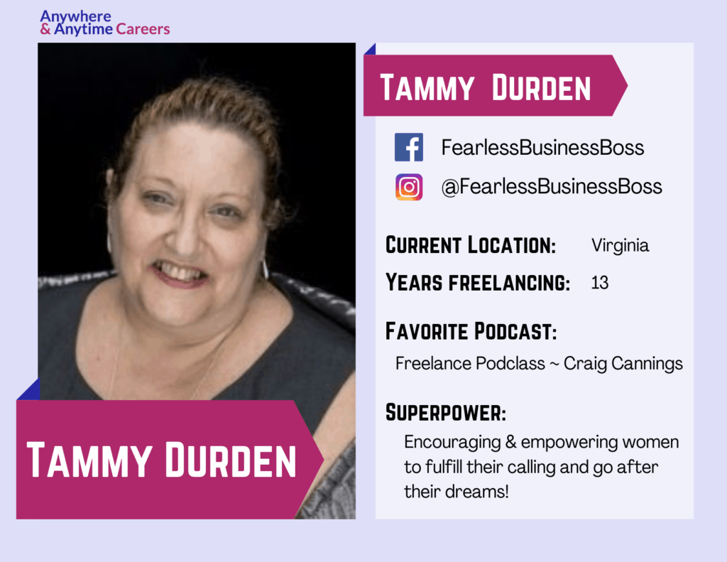 Baseball card-style graphic featuring Tammy Durden