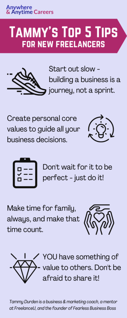 Infographic: Tammy's top 5 tips for new freelancers